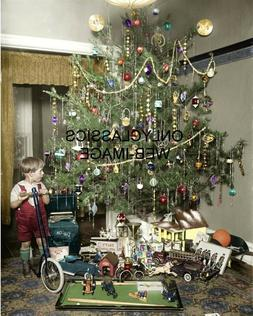 1922 VINTAGE DECORATED CHRISTMAS TREE COLORIZED 8X10 PHOTO A