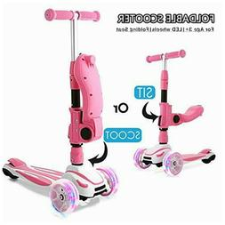 2 in 1 Kick Scooter 3-Wheel LED Flashing Scooter Adjustable