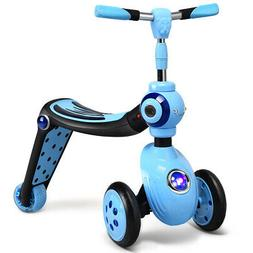 2-in-1 Kick Scooter and Ride-On Balance Trike for Kids Adjus