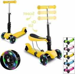 2 in 1 Scooter with Removable Seat Adjustable Height LED Whe