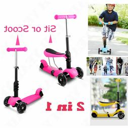2in1 Kick Children Scooter With Light Up Wheels Gift For Kid