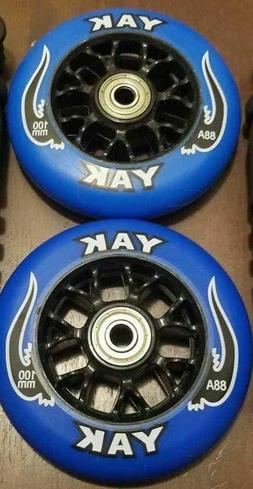 2x Black 100mm Replacement Wheels + ABEC-9 Bearings for Razo