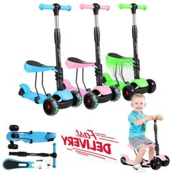 3 in 1 Kick Children Scooter With Light Up Wheels Sports Gif