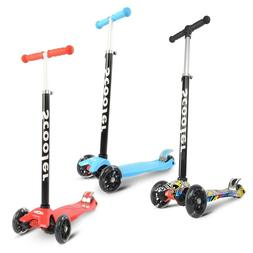 3 Wheels Kick Scooter with LED Lights Adjustable Scooter for