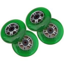 4 Green 100mm Replacement Wheels + ABEC-7 Bearings for Razor