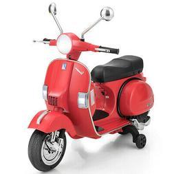 6V Kids Ride On Vespa Scooter Motorcycle w/ Training Wheel &