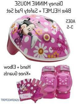 7pc Minnie Mouse BIKE HELMET +GLOVES +ELBOW+KNEE PADS SET Sc