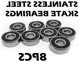 8-pk BLACK Abec 11 Wheel bearings Skateboard scooter inline