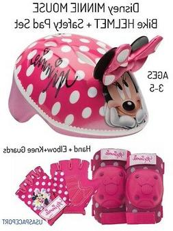 Girls Minnie Mouse BIKE HELMET+GLOVES+ELBOW+KNEE PAD SET Sco