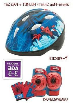 Kids SPIDER-MAN Boys BIKE HELMET+Safety GLOVES+ELBOW+KNEE PA