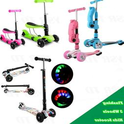 Aluminum Alloy Kid T-shaped Scooter Foot Kick Scooter 3 Flas