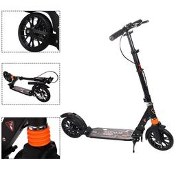 Adult Kick Scooter with Handbrake Dual Glider Adjustable Hei