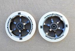 110mm DIS 'White Guns' 6-Spoke Metal Core Scooter Wheels  wi