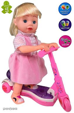 Doll Scooter Interactive Battery Operated Toy for Girl Outfi