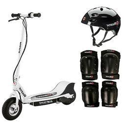 Razor E325 Electric 24V White Scooter + Youth Helmet + Elbow