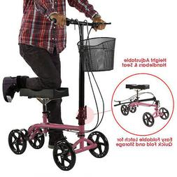 Clevr Medical Foldable Steerable Knee Walker Scooter with Ba