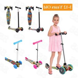 Folding Kick Scooter For Toddler Kids Adjustable Height Outd