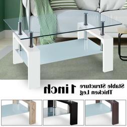 Modern Coffee Table Tempered Glass w/ Shelf Storage Living R