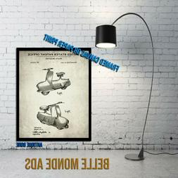 Framed Vintage Piatti Motor Scooter Patent Art Print - Piatt