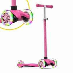 Swagtron K5 3-Wheel Kids Scooter Light-Up Wheels Height-Adju