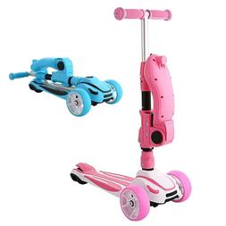 Kids Adjustable Height Kick Scooter With Folding Seat Flashi