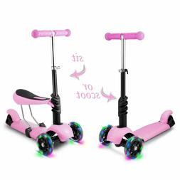 2-in-1 Kick Scooter with Removable Seat LED Wheel for Kids T
