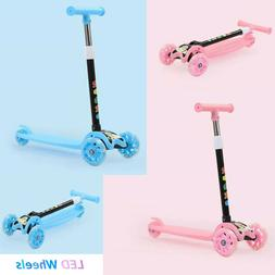 For Kids LED Scooter Deluxe 3 Wheel Glider with Kick n Go Le