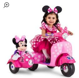 Kids Outdoor Scooter Toddler Sidecar Minnie Mouse Play Recha