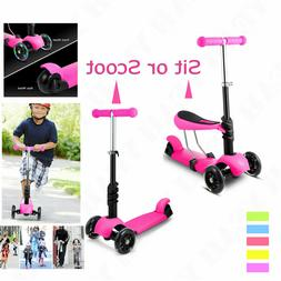 Kids Baby 2 in 1 Kick Scooter with LED 3-Wheel Adjustable Ha