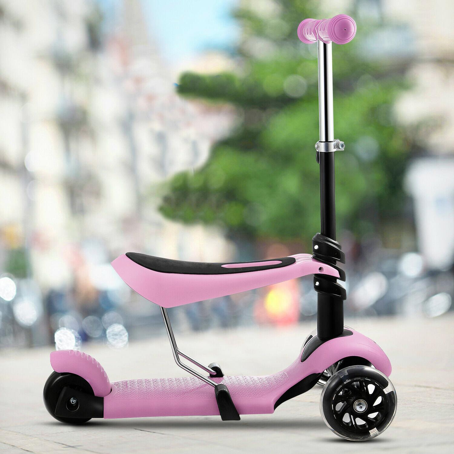 2-in-1 Scooter Removable Seat LED for Kids Boys