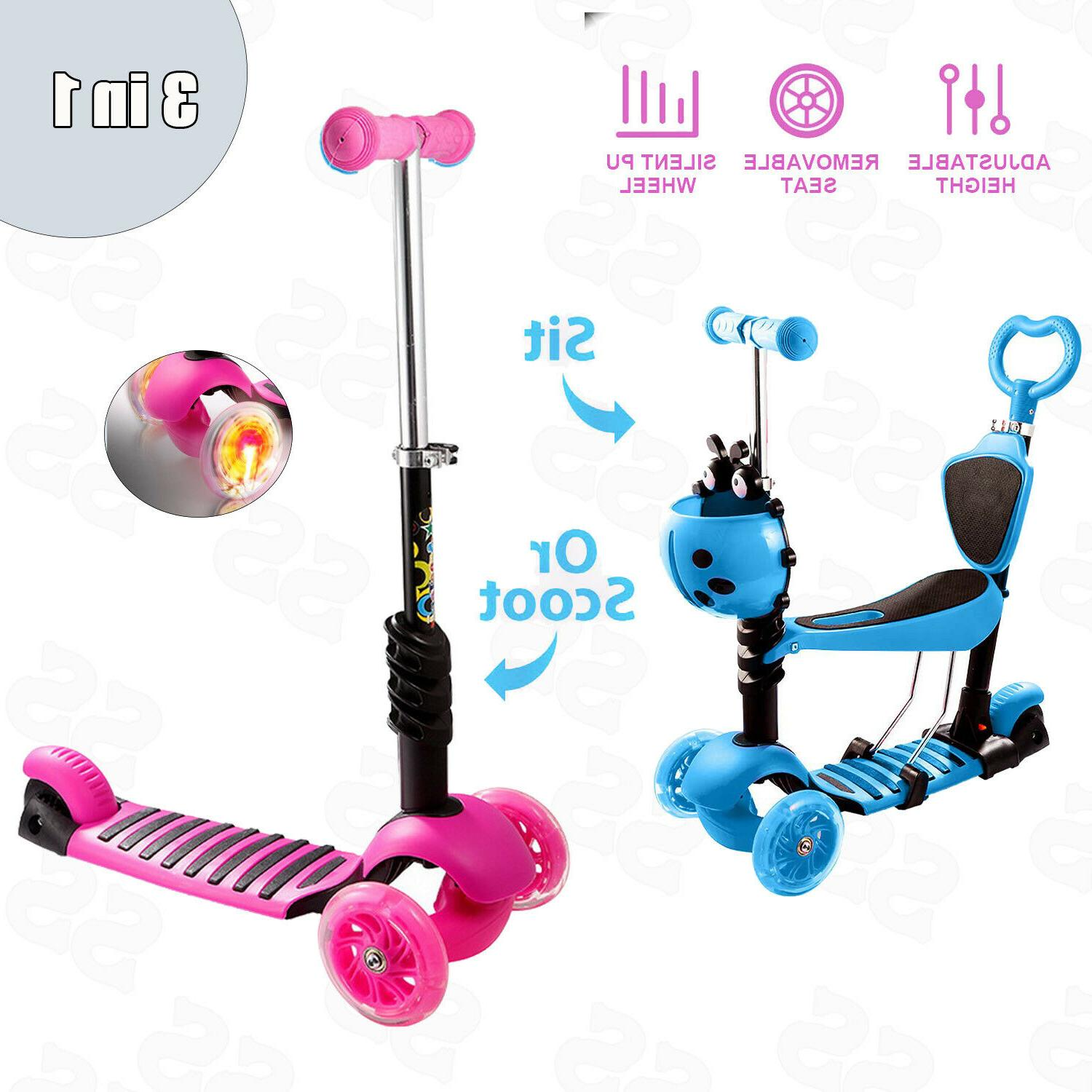 3 IN 1 Kids Scooter Kick Scooter Deluxe For Age 3~12 Adjusta