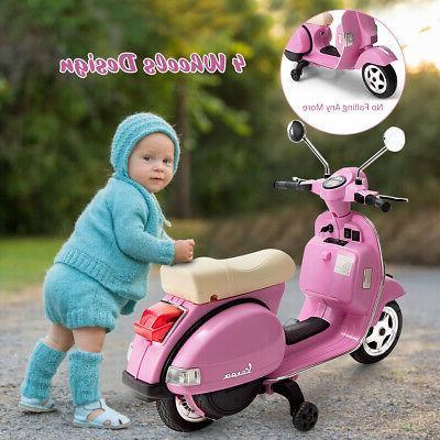 6V Kids On Vespa Training Wheel Pink