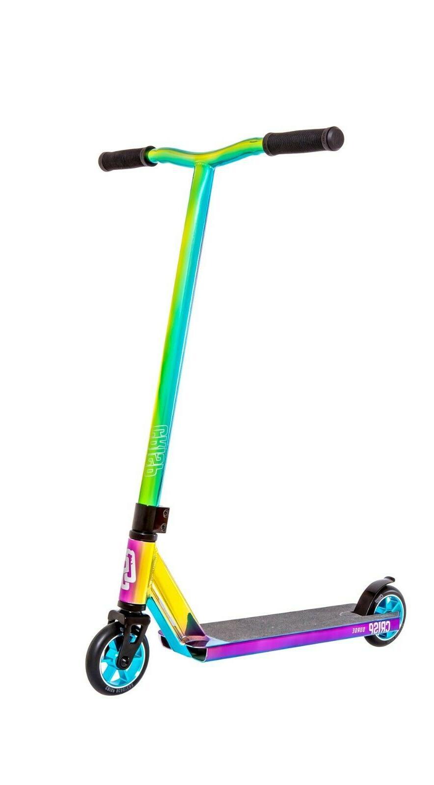 crisp surge pro scooter chrome blue green