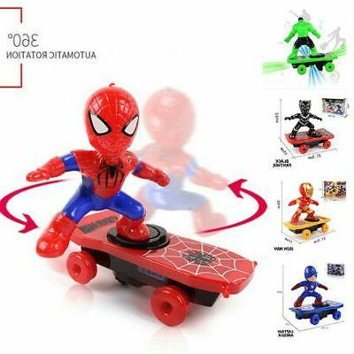 Electric Spiderman Scooter Skateboard Kids Toy With Light Mu