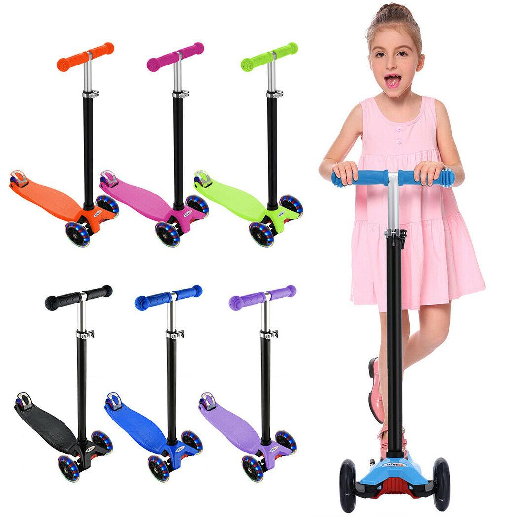Folding Kick Scooter For Kids Adjustable Height Flashing 3 W