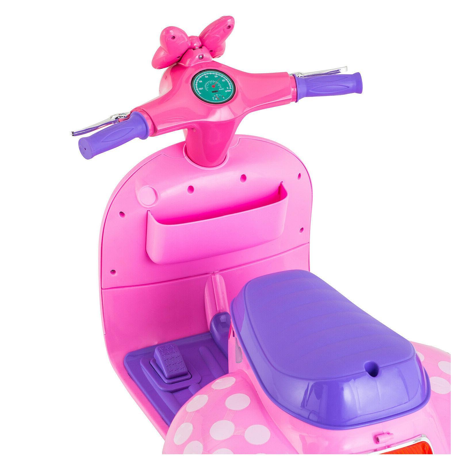 Girls On 6V 4 Wheel Kid Scooter