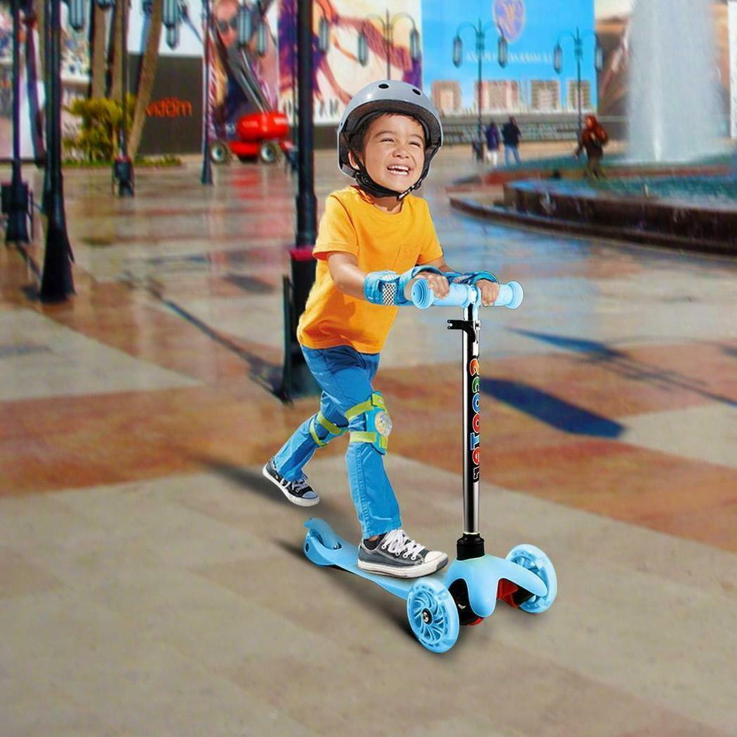 Kick Scooter 3 Wheel Adjustable Height T-Bar Ride for Boys G