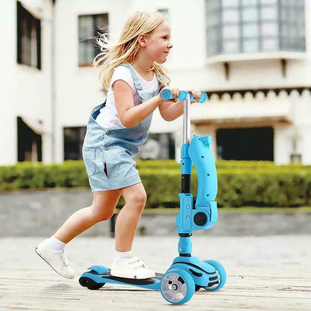 2 in 1 Kids Adjustable Kick Scooter With Folding Seat & LED
