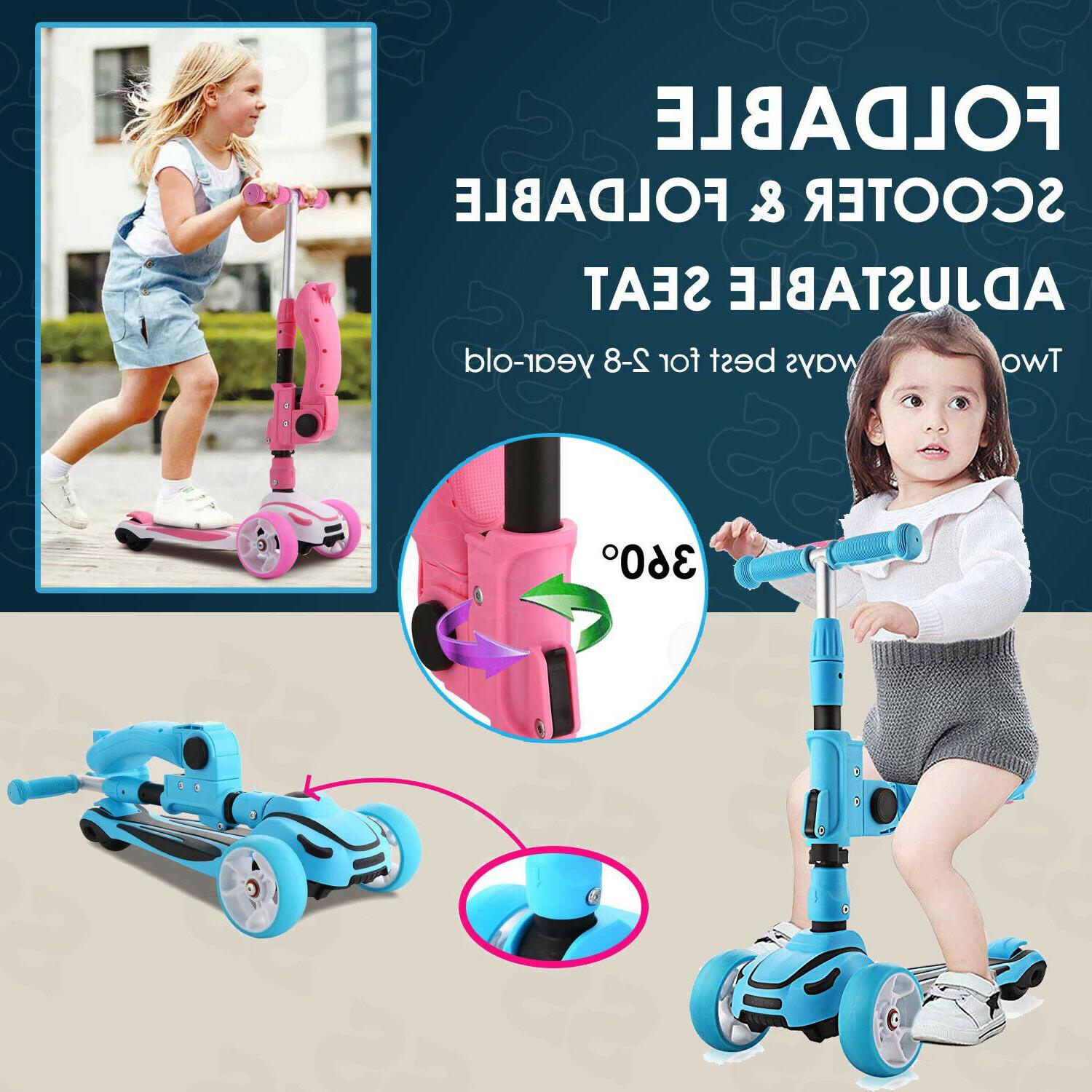2 in1 Scooter for Kids Folding Seats&Height Adjustable 3 LED