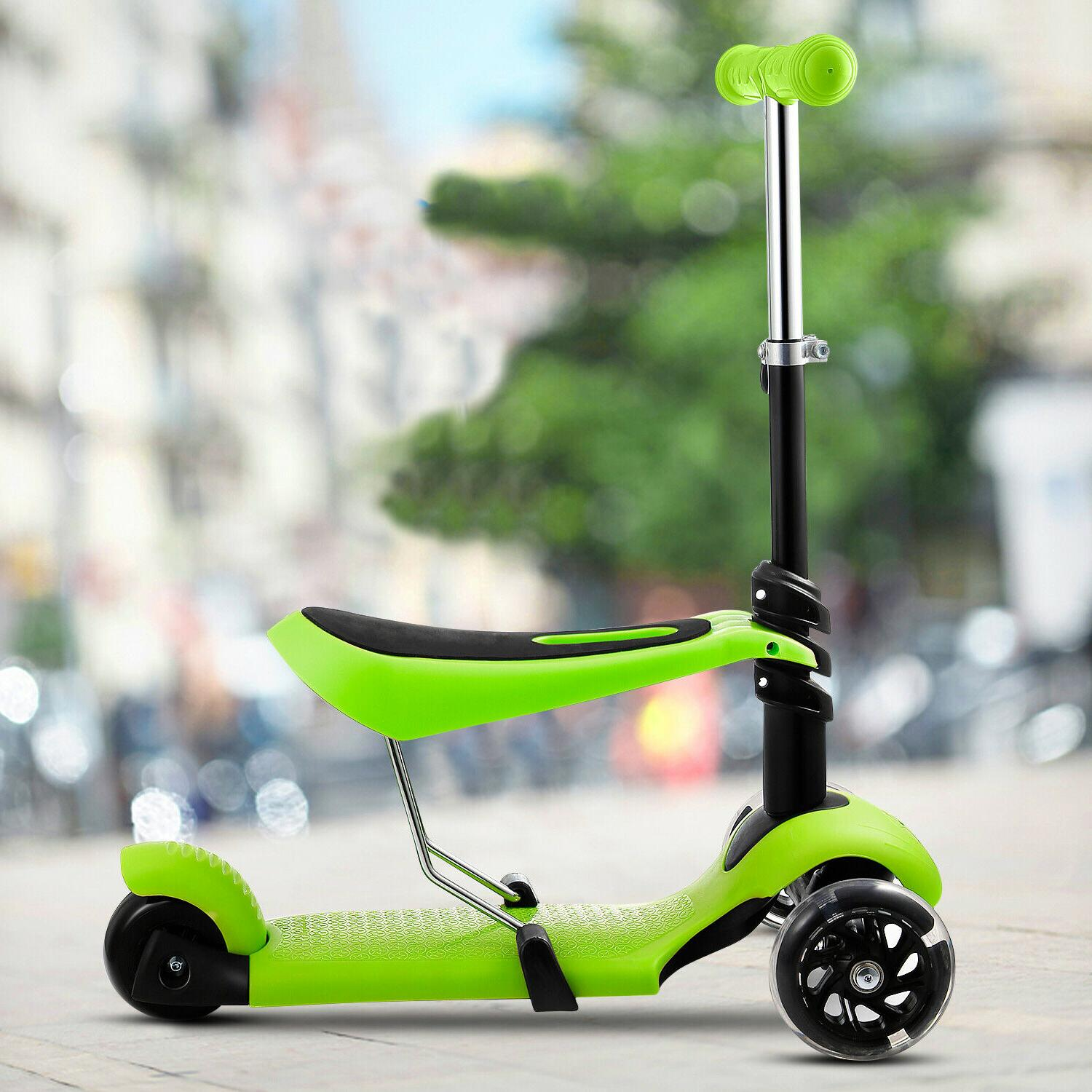 2-in-1 Scooter with Seat LED Kids Toddler Boys Gift