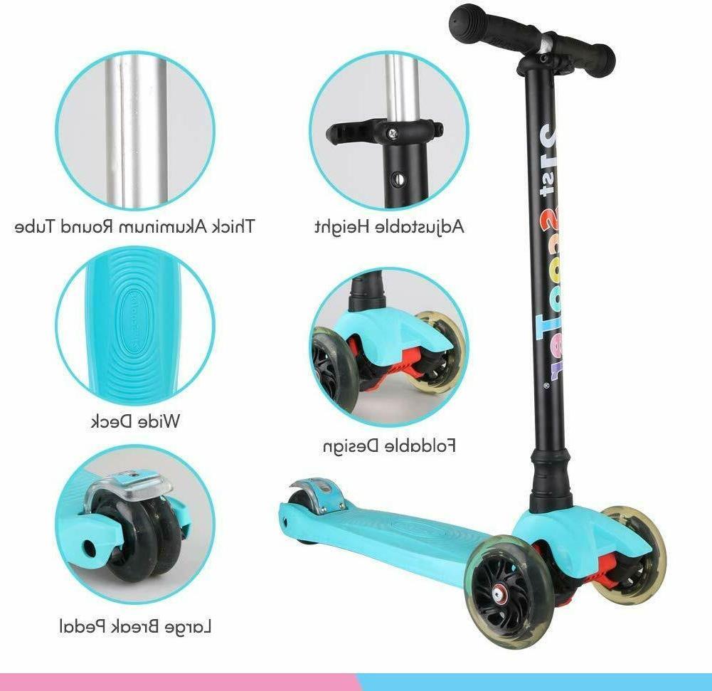 LED Kids Scooter Wheel Adjustable Kick Girls Boys