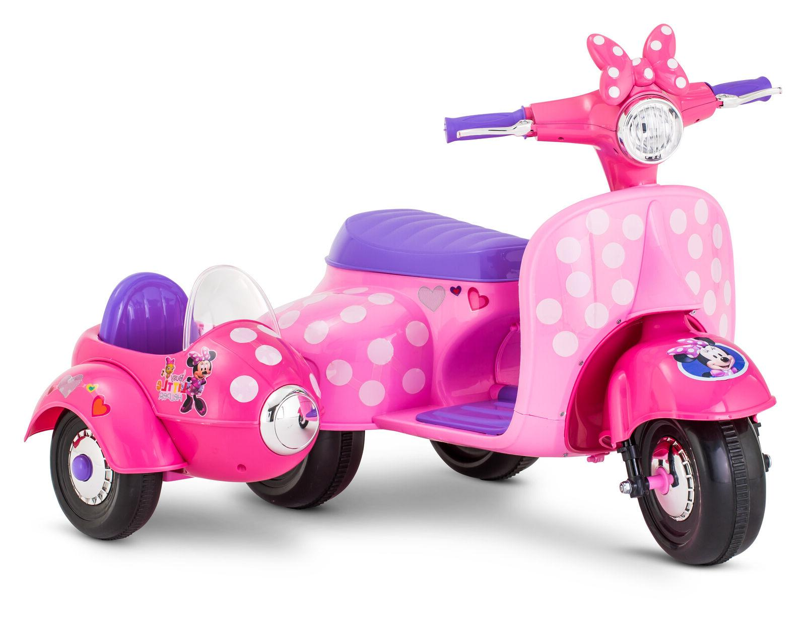 Minnie Scooter Ride On For Girls Sidecar Toddler Kids
