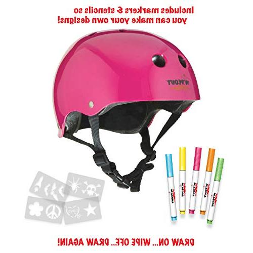 Wipeout Dry Erase Bike, and Scooter Helmet, Neon Pink, 8+