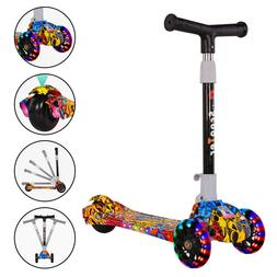 LED 3 Wheels Kick Scooter for Kids Folding Adjustable Girls