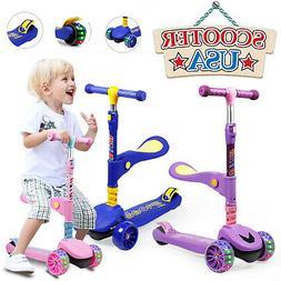 LED Scooter For Kids Deluxe 3 Wheel Folding Adjustable Kick