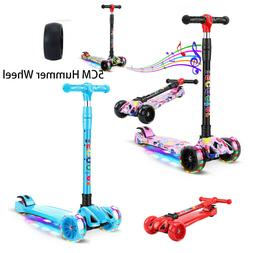 LED Scooter for Kids Deluxe 3 Wheel Glider with Kick n Go Le