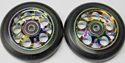 R4 Oil Slick Neo Chrome Scooter 100MM Aluminum Core Wheelset