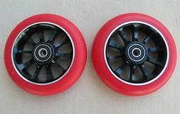 Pair 110mm Red on Black Metal Core Scooter Wheels  w/ABEC-11