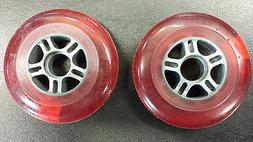 Pair of 100 mm Scooter Wheels-Red with Grey plastic centers