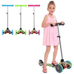 Pushing Kick Scooter for Kids Adjustable 3 Wheel Glider Outd